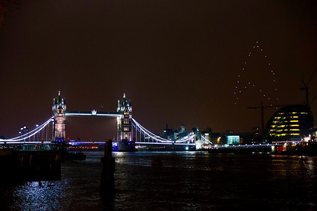 swarm robots over london sky