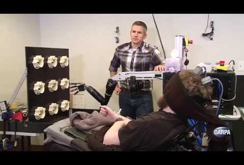 Sensing of touch between brain and robot arm